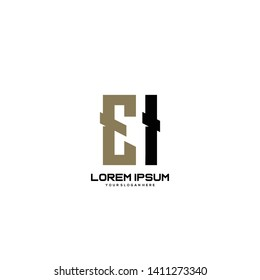 Initial letter EI minimalist art logo vector