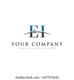 Initial letter EI, overlapping movement swoosh horizon logo company design inspiration in blue and gray color vector