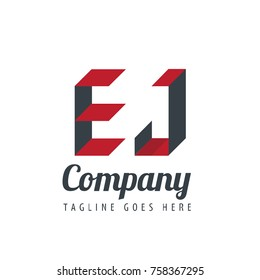 Initial Letter EJ Design Logo With Square