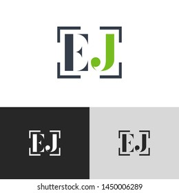 Initial Letter ej e j  uppercase modern logo design template elements. green letter Isolated on black white grey background. Suitable for business, consulting group company.