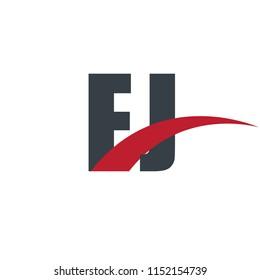 Initial Letter EJ FJ Overlapping Design Logo