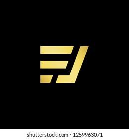 Initial letter EJ JE FJ JF minimalist art logo, gold color on black background. - Vector
