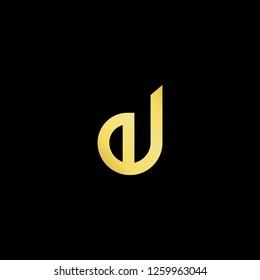 Initial letter EJ JE minimalist art logo, gold color on black background. - Vector