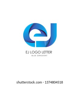 Initial Letter ej Linked Circle Lowercase Logo Blue Icon Design Template Element with gradient - Vector