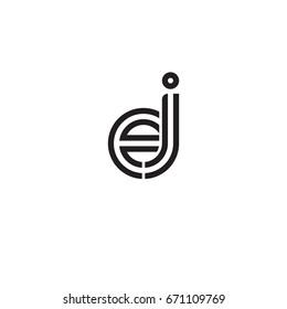Initial letter ej, linked outline rounded lowercase, monogram black