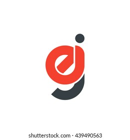 initial letter ej linked round lowercase logo red