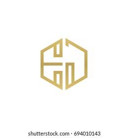 Initial letter EJ, minimalist line art hexagon shape logo, gold color