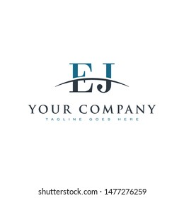 Initial letter EJ, overlapping movement swoosh horizon logo company design inspiration in blue and gray color vector