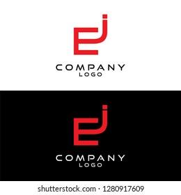 initial letter ej/je/jc/cj logotype company name design template vector