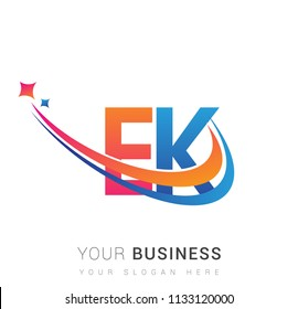 initial letter EK logotype company name colored orange, red and blue swoosh star design. vector logo for business and company identity.