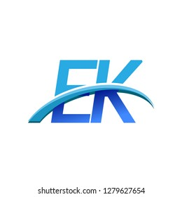 initial letter EK logotype company name colored blue and swoosh design. vector logo for business and company identity.