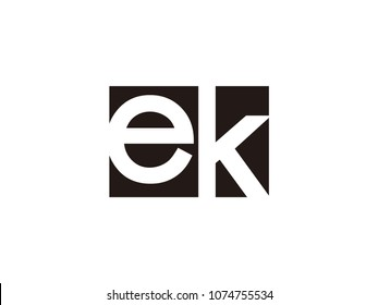 Initial letter ek lowercase logo black and white