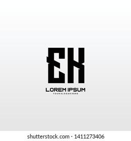 Initial letter EK minimalist art logo vector