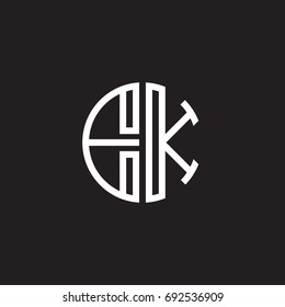 Initial letter EK, minimalist line art monogram circle shape logo, white color on black background