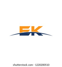 Initial letter EK, overlapping movement swoosh horizon logo vector