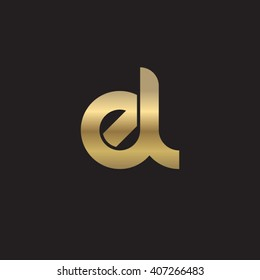 initial letter el linked circle lowercase logo gold black background