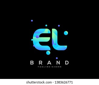Initial letter EL logo with colorful background, letter combination logo design for creative industry, web, business and company. - Vector