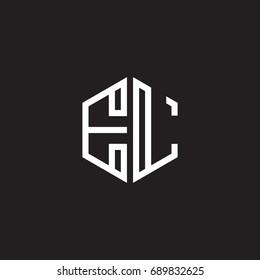 Initial letter EL, minimalist line art monogram hexagon shape logo, white color on black background