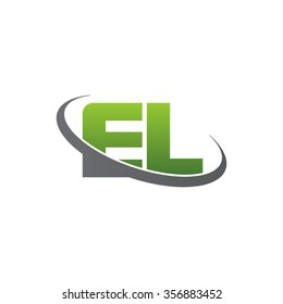 initial letter EL swoosh ring company logo green gray