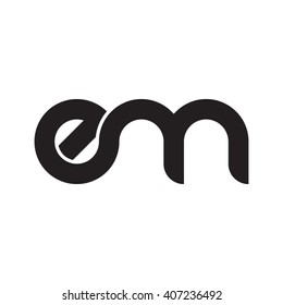 initial letter em linked circle lowercase monogram logo black