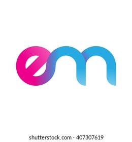 initial letter em linked circle lowercase logo pink blue purple