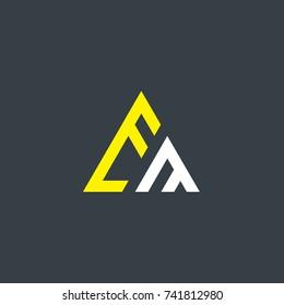 Initial Letter EM Linked Triangle Design Logo