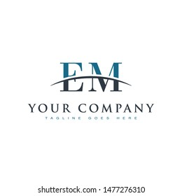 Initial letter EM, overlapping movement swoosh horizon logo company design inspiration in blue and gray color vector