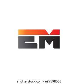 Initial letter EM, straight linked line bold logo, gradient fire red black colors