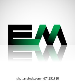 Initial letter EM uppercase modern and simple logo linked green and black colored, isolated in white background. Vector design for company identity.