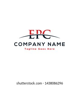 Initial letter EPC, overlapping movement swoosh horizon logo company design inspiration in red and dark blue color vector