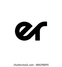 Initial Letter ER Linked Lowercase Logo Black