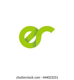 initial letter er modern linked circle round lowercase logo green