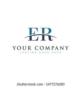 Initial letter ER, overlapping movement swoosh horizon logo company design inspiration in blue and gray color vector
