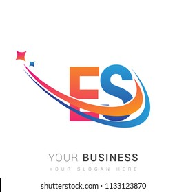 initial letter ES logotype company name colored orange, red and blue swoosh star design. vector logo for business and company identity.