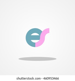 Initial letter ES lowercase logo design template blue pink