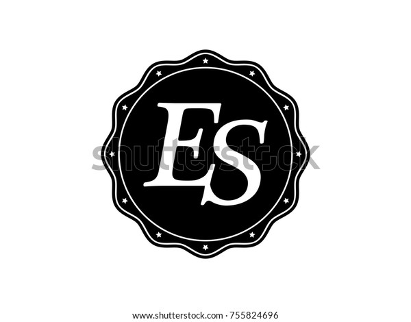 Initial Letter Es Monogram Logo Black Stock Vector Royalty Free 755824696