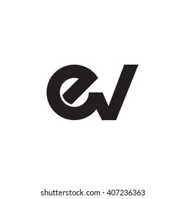 initial letter ev linked circle lowercase monogram logo black