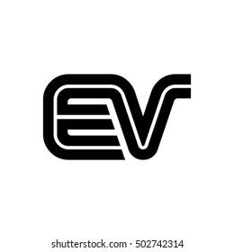 Initial Letter EV Linked Design Logo Black