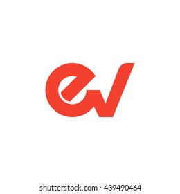 initial letter ev linked round lowercase logo red