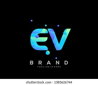 Initial letter EV logo with colorful background, letter combination logo design for creative industry, web, business and company. - Vector