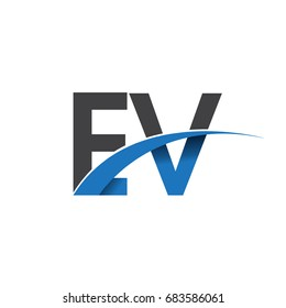 initial letter EV logotype company name colored blue and grey swoosh design. vector logo for business and company identity.