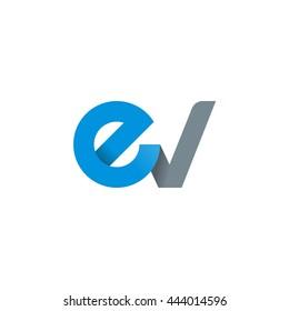 initial letter ev modern linked circle round lowercase logo blue gray