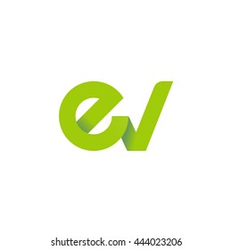 initial letter ev modern linked circle round lowercase logo green