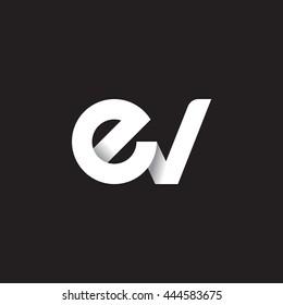 initial letter ev modern linked circle round lowercase logo white black