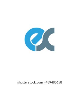 initial letter ex linked round lowercase logo blue