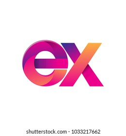 Initial Letter EX Logo Lowercase, magenta and orange, Modern and Simple Logo Design.