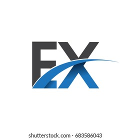 initial letter EX logotype company name colored blue and grey swoosh design. vector logo for business and company identity.