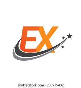 initial letter EX logotype company name colored orange and grey swoosh star design. vector logo for business and company identity.