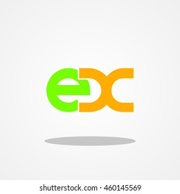 Initial letter EX lowercase logo design template leaf green orange