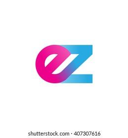 initial letter ez linked circle lowercase logo pink blue purple